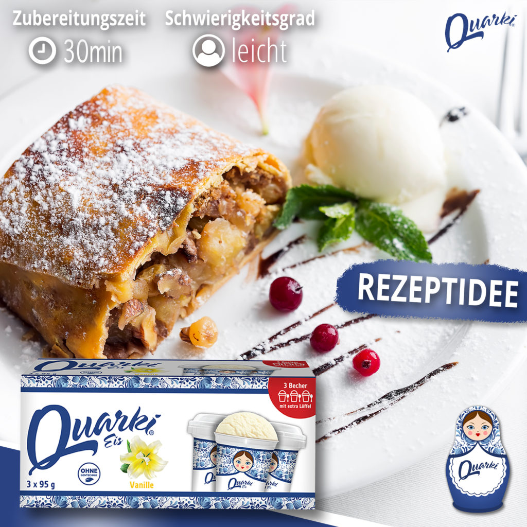 Quarki Rezept Apfelstrudel mit Quarki Vanille-Eis