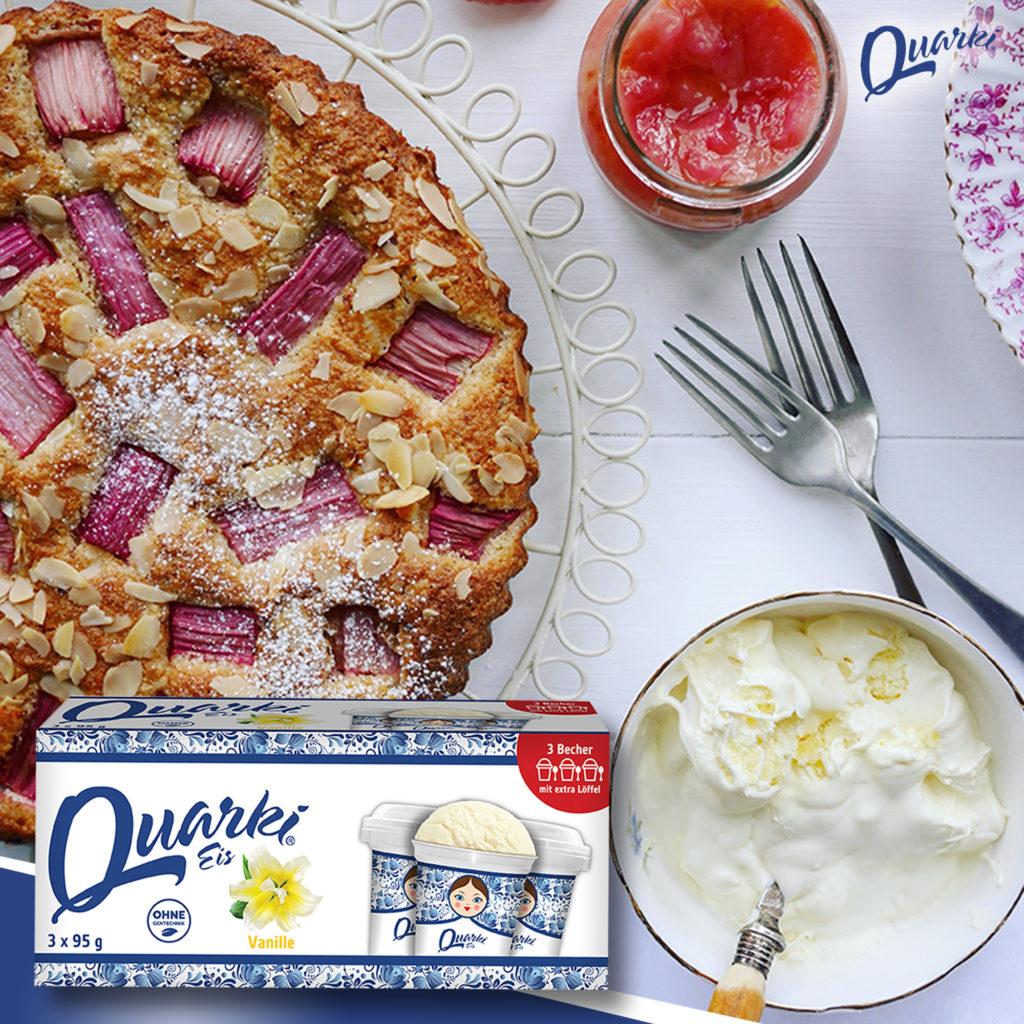 Quarki Rezept Rhabarberkuchen mit QUARKI Eis
