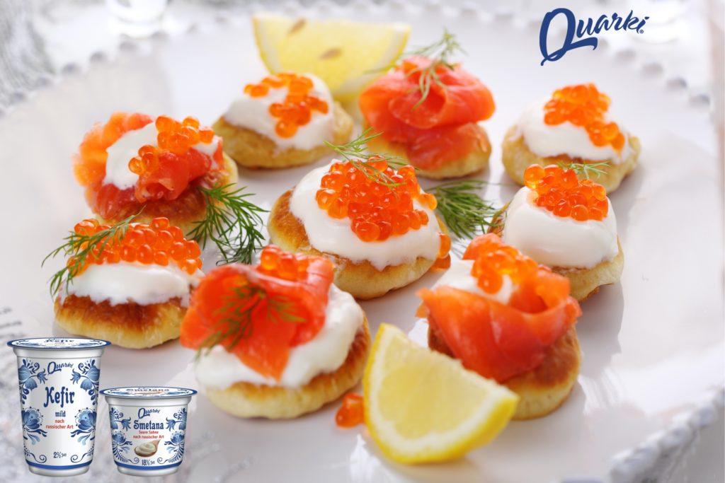 Quarki Rezept Blinis mit Kaviar oder Lachs
